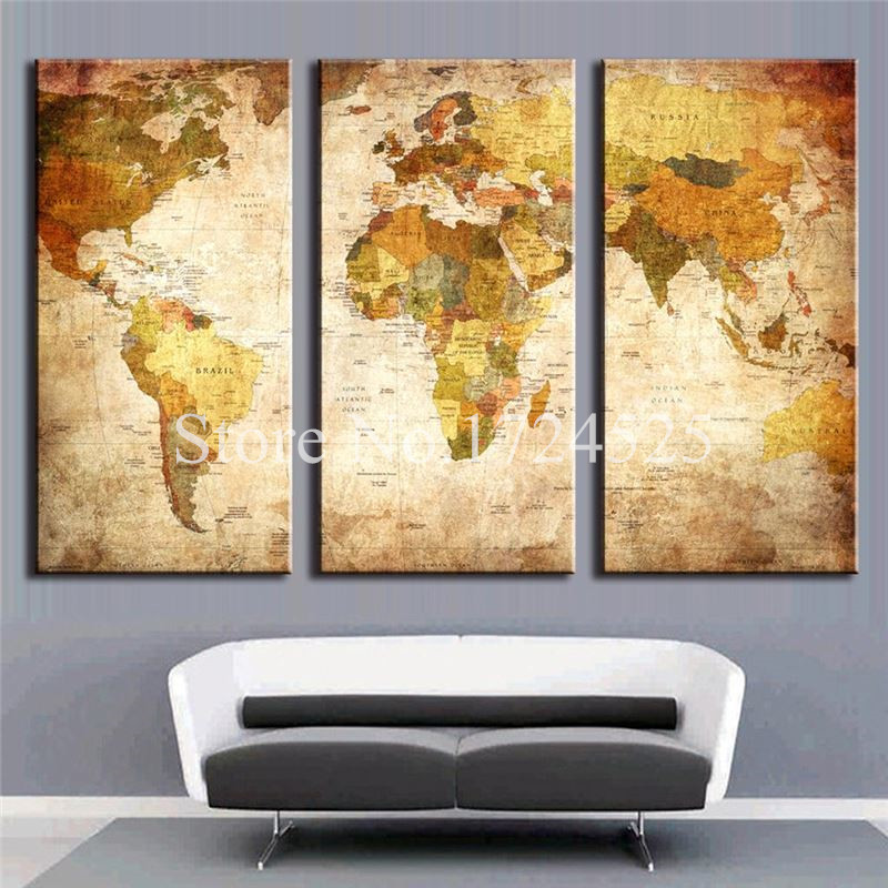 Frameless Modern World Map Home Decoration Oil Paintings 3 PCS/Set ...