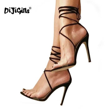dropship Women Sandals Transparent Heels Fashion Clear Gladiator Sandals Sexy Cross Strappy Lace Up Thin Heel Party Shoes Black strappy tie up flat sandals