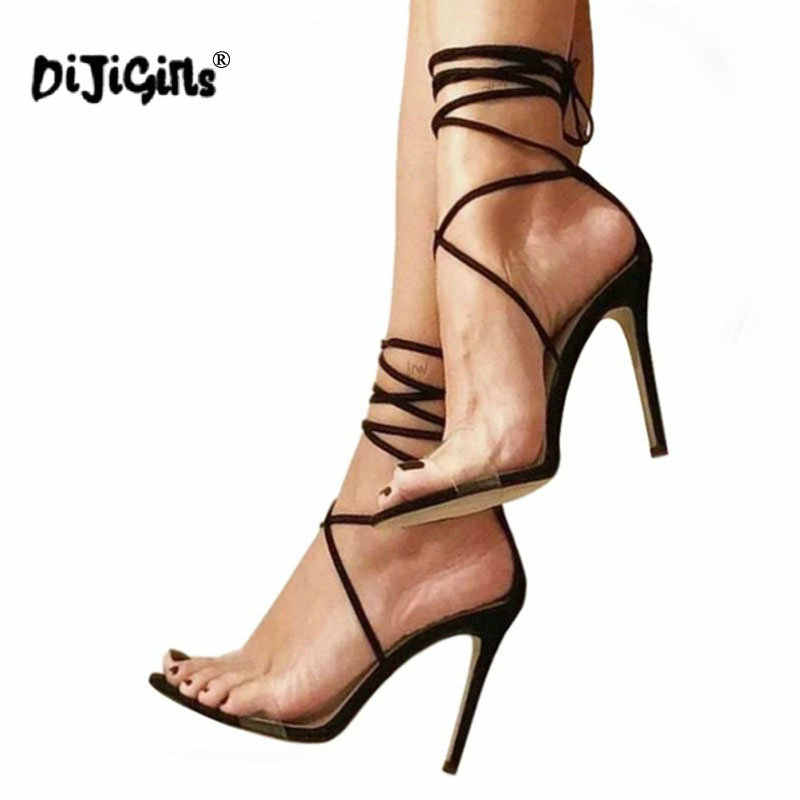 ea6110528309 dropship Women Sandals Transparent Heels Fashion Clear Gladiator Sandals  Sexy Cross Strappy Lace Up Thin Heel