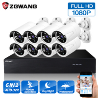 ZGWANG 8CH Surveillance Camera 1080N Video Surveillance Systerm DVR kit Outdoor Home 1080P Analog AHD Camera kit Hard Disk