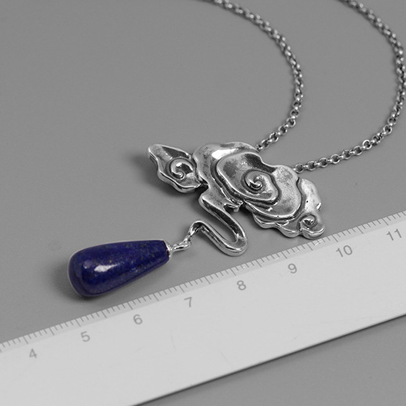 Image 5 - Lotus Fun Real 925 Sterling Silver Nature Lapis Stone Fine  Jewelry Vintage Peace Clouds Pendant Without Chain Necklace for  WomenPendants
