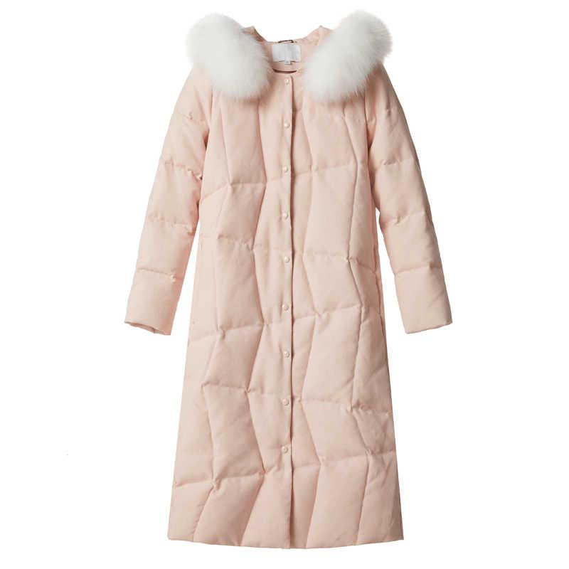 Женский зимний ультра легкий пуховик с меховым капюшоном 2019 женские белые пуховики Длинные теплые парки для женщин зимняя куртка