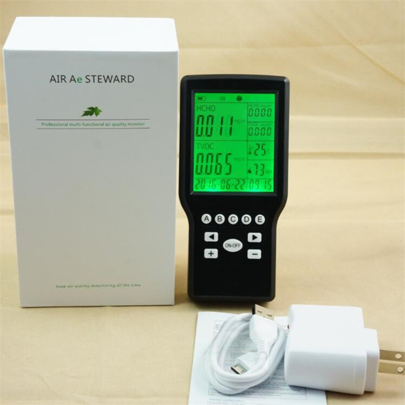 Free shipping air quality monitor TVOC Formaldehyde Detector/ digital data display / gas meter for formaldehyde HCHO uyigao ua506 for ppm htv digital formaldehyde test methanol concentration monitor detector withlcd display sound and light alarm