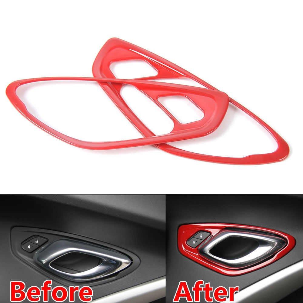 BBQ@FUKA Car Interior Door Handle Trims Outlet Ring Covers Fits For Chevrolet Camaro 2017 for toyota prado fj150 2014 2016 auto cover accessories interior door handle door armrest air outlet lamp frame covers 17pcs set