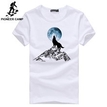 Pioneer Camp Fashion print wolf pattern casual t-shirt for men