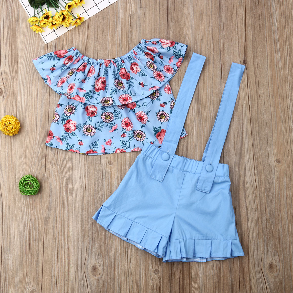 Pudcoco Summer Toddler Baby Girl Clothes Off Shoulder Ruffle Flower Print Tops Overalls Strap Short Pants 2Pcs Outfits Clothes