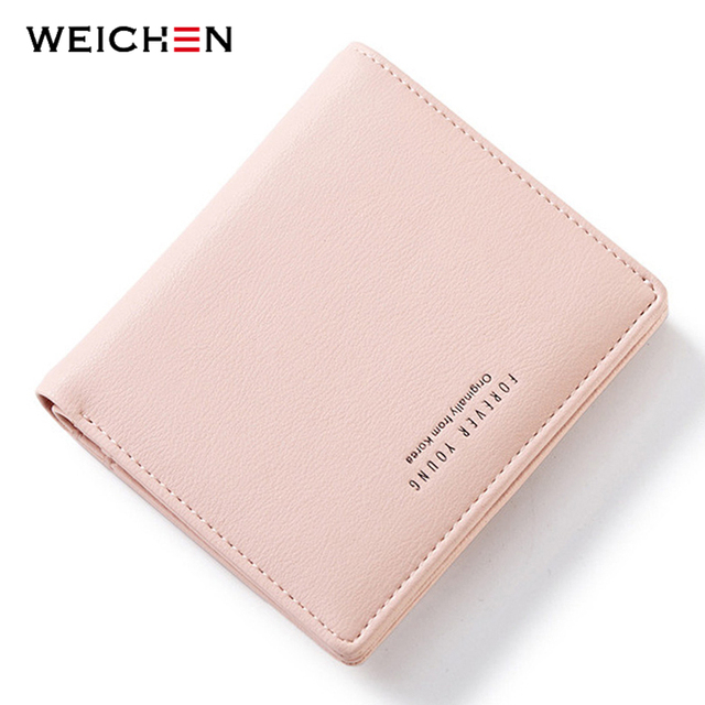 WEICHEN Thin Style Women Wallets Zipper Coin Bag in Back Blue Soft Leather Ladies Card Holder Slim Purse Female Wallet Small HOT 10
