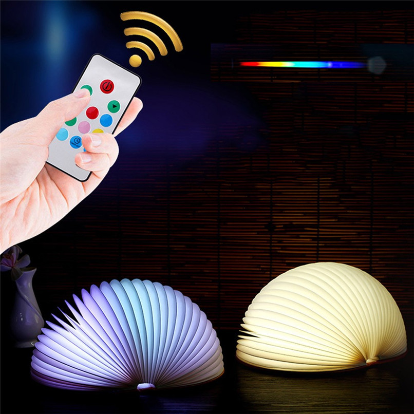 Book night light LED 7 Colors Book Light Lamp Remote Control Night Light USB Desk Table Decor Holiday gift #4m10 (2)