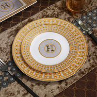 Porcelain flat plates bone china H mark mosaic design outline in gold dishes plates clubhouse upscale ceramic tableware