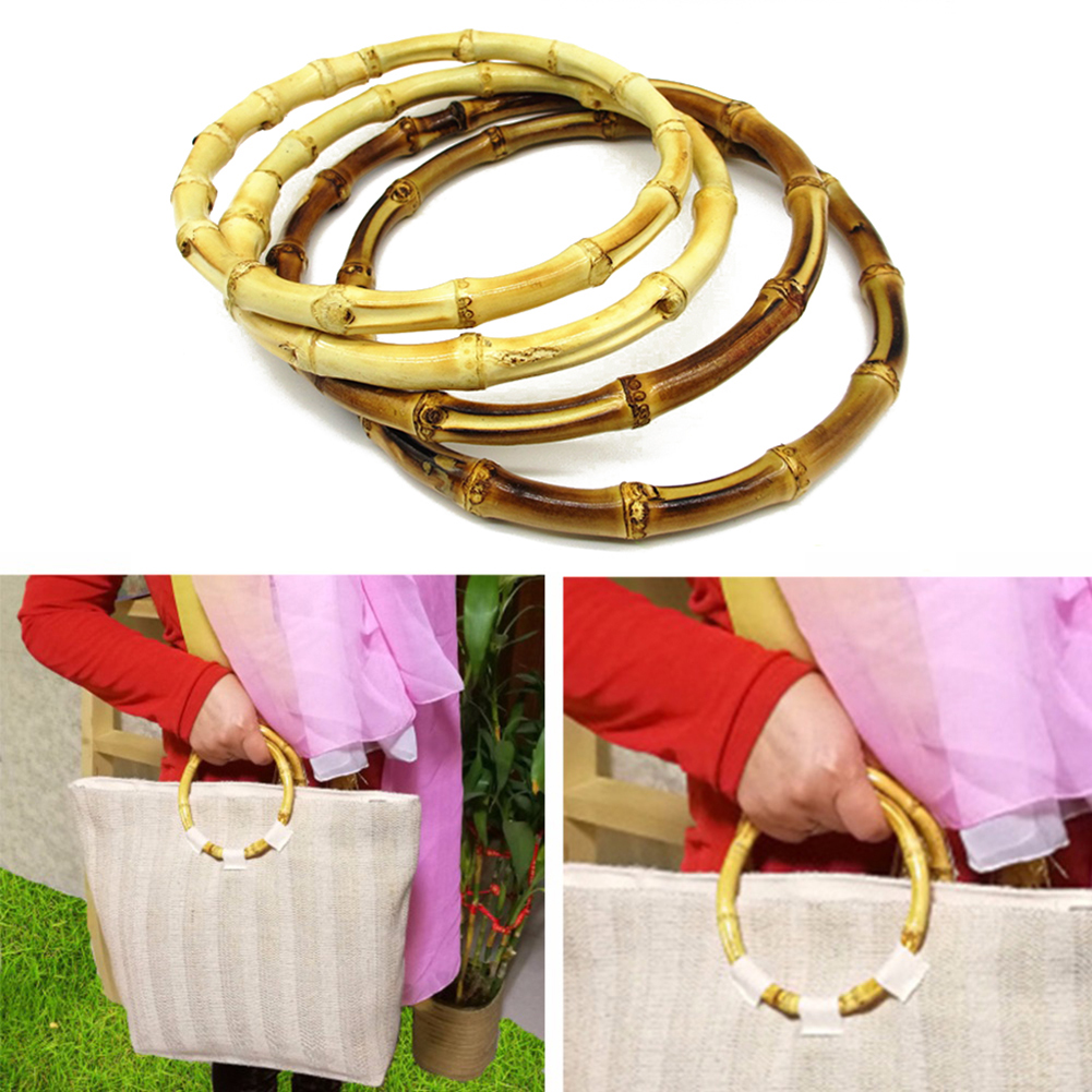 Women Round Bamboo Bag Handle For Handcrafted Handbag DIY Bag Accessories Handbag Strap O Bag Handles