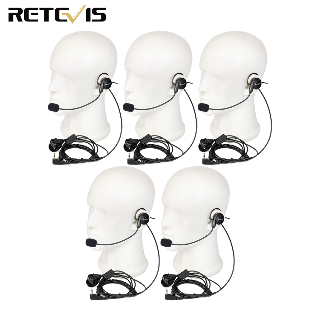 5pcs Retevis 2 Pin Earpiece Mic Finger PTT For Kenwood Baofeng UV-5R 888S Retevis H777 RT5R RT5 PUXING TYT Walkie Talkie C9029A