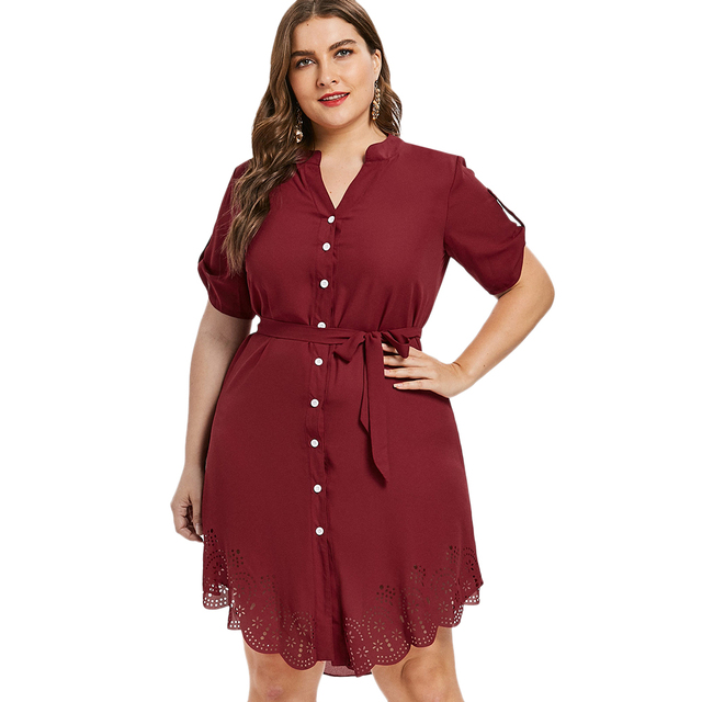 Aliexpress.com : Buy Wipalo Plus Size Elegant Autumn Eyelet Belted Dress  Laser Cut Button Up Asymmetrical Shirt Dress Roll Up Sleeve Dress 5XL from  ...