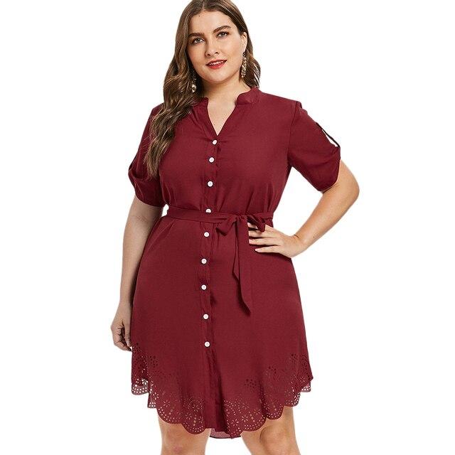 Wipalo Plus Size Red Laser Cut Button Up Asymmetrical Shirt Dress Elegant  Roll Up Sleeve Dress Autumn Eyelet Belted Dress 5XL ba9d5475c983