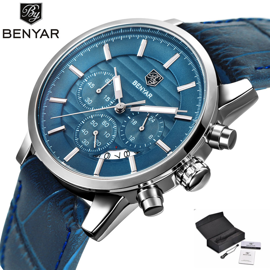 BENYAR Fashion Chronograph Sport Mens Watches Top Brand Luxury Waterproof Military Leather Quartz Watch Clock Relogio Masculino benyar mens watches top brand luxury design chronograph sport fashion military clock waterproof quartz watch relogio masculino