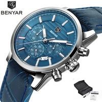 BENYAR Fashion Chronograph Sport Mens Watches Top Brand Luxury Waterproof Military Leather Quartz Watch Clock Relogio Masculino