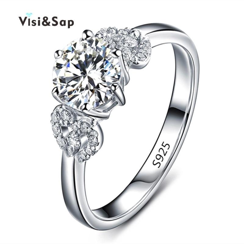 43e04d33a8a01 Visisap oro blanco color flor Anillos para mujeres boda anillo de compromiso  bague zirconia cúbico joyería de moda romántica vsr072