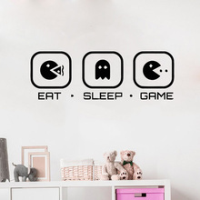 Gamer wall decals Controller video game Sticker Eat Sleep Game Kids Boys Bedroom Vinyl Wall Art Removable Y134
