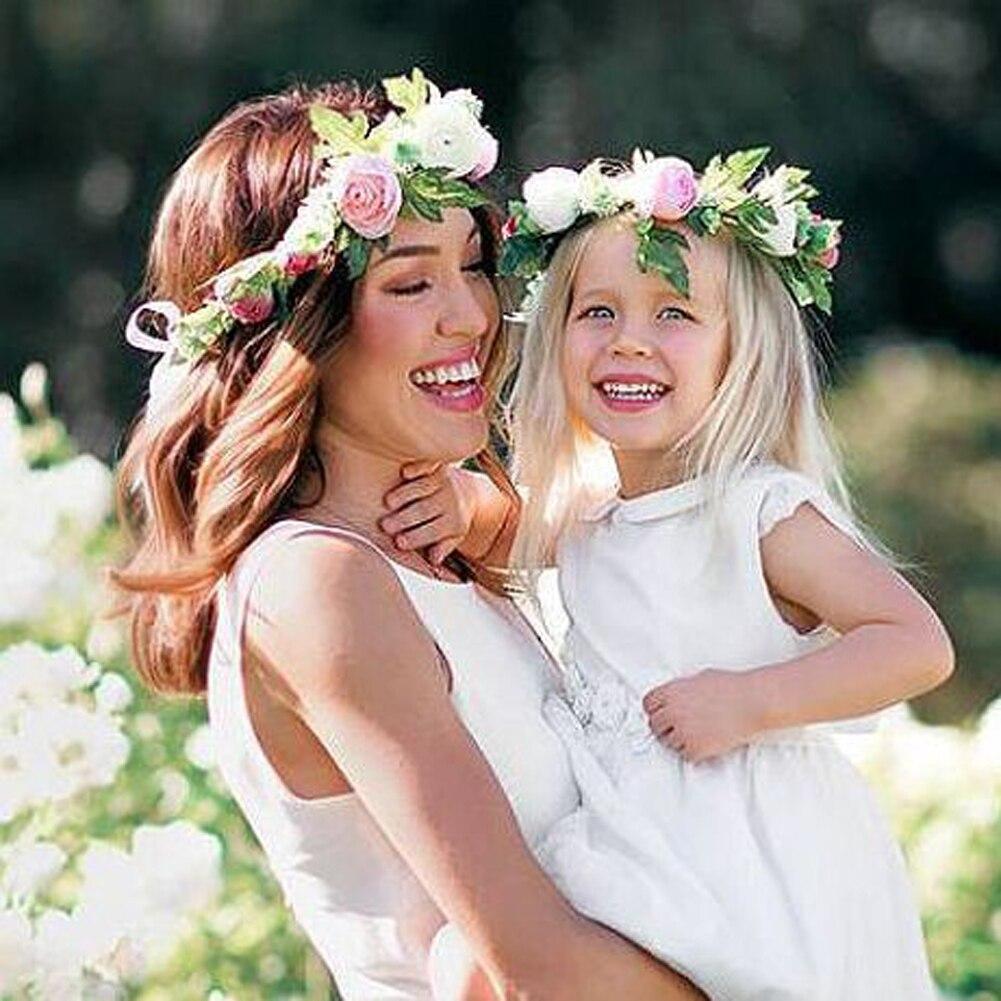 Fashion Parent Child Mom Kids Wreath Flower Headband Travel Flower