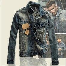 Мужчины винтаж джинсовая куртка мужская пальто Тонкий мужчины тонкий вниз носить джинсы мужчина 2016 Осень Отложным Воротником Случайные Тонкий верхняя одежда