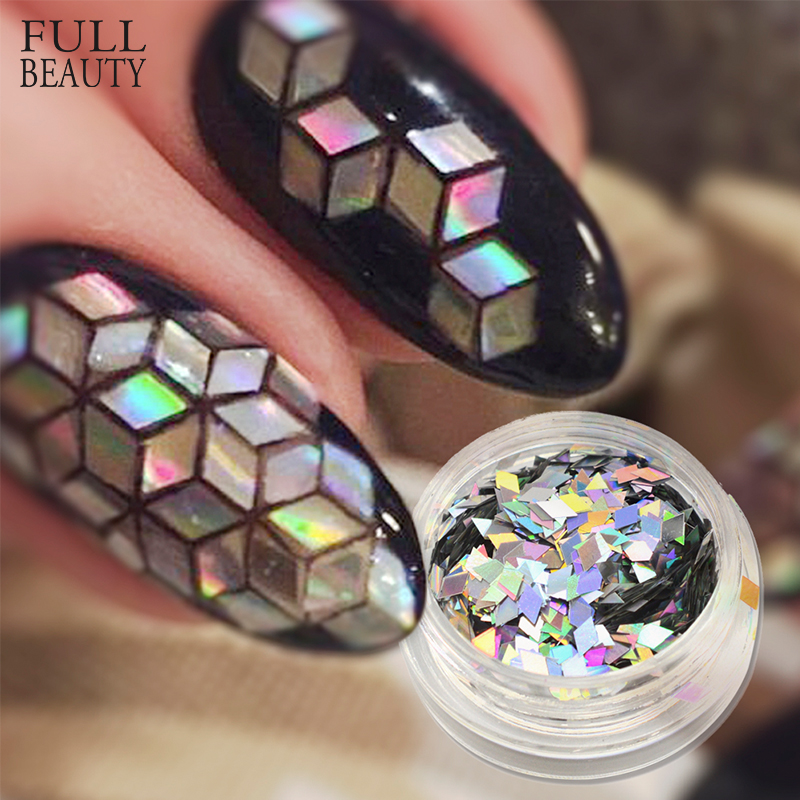 Full Beauty Laser Silver Gold Flakes Nail Art Sequins Colorful Glitter Paillette Rhombus Shape For DIY Craft Slider CHLS01-16
