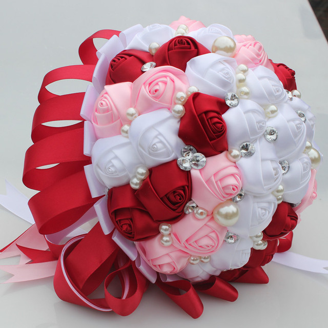 DIY Wine Red WHITE Pink Pearl Bouquet Bridal Crystal Wedding ...