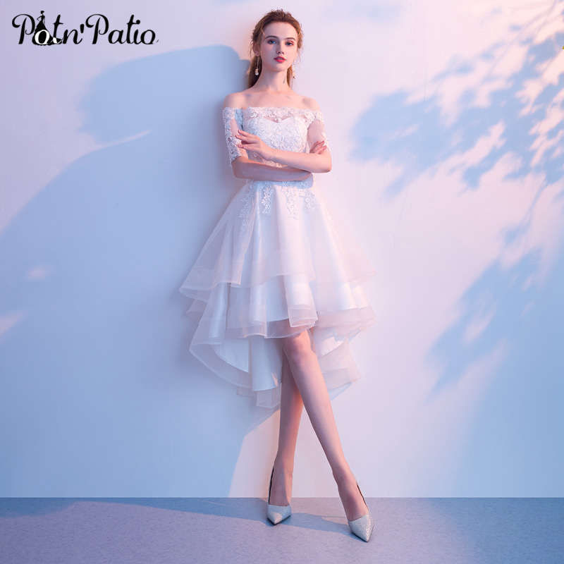 White Tulle High Low Dresses For Graduation Party Sexy Boat Neck Off The Shoulder Short Homecoming Dresses With Sleeves