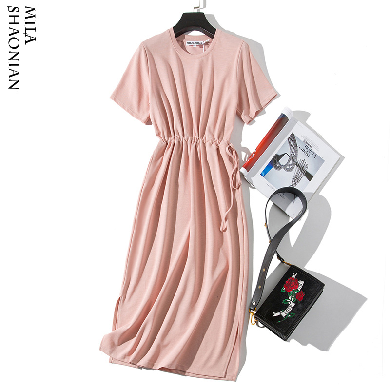Pink Solid Sashes Draped Dress Woman Casual Loose Korean O Neck Tshirt Dress Ladies Plus Size Vintage Dresses Female Summer 2019 in Dresses from Women 39 s Clothing