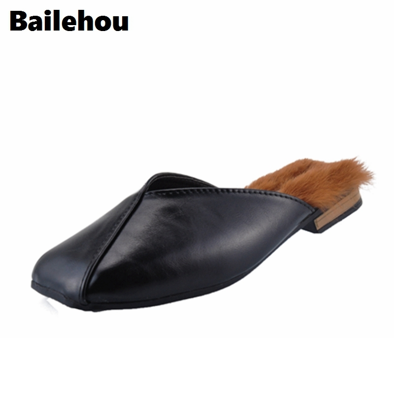 Bailehou Fashion Women Flats Slippers Fur Plush Flat Shoes Slip On Slides Casual Shoes Mule Loafer Flats Shoes Classics Female brand women flats shoes real rabbit fur slippers plus size winter autumn warm female flat heel slip shoes casual home slippers30