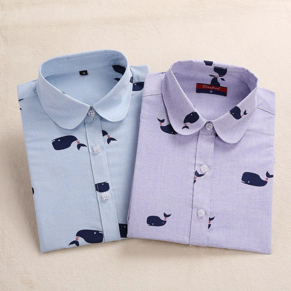Dioufond algodón mujeres impreso blusas de manga larga camisetas y tops de las m