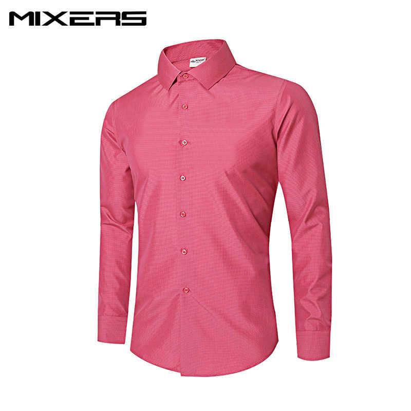 を 2018 新着チェック柄ドレスシャツメンズ長袖ブランドビジネスフォーマルシャツ綿カジュアル男性服 camisas