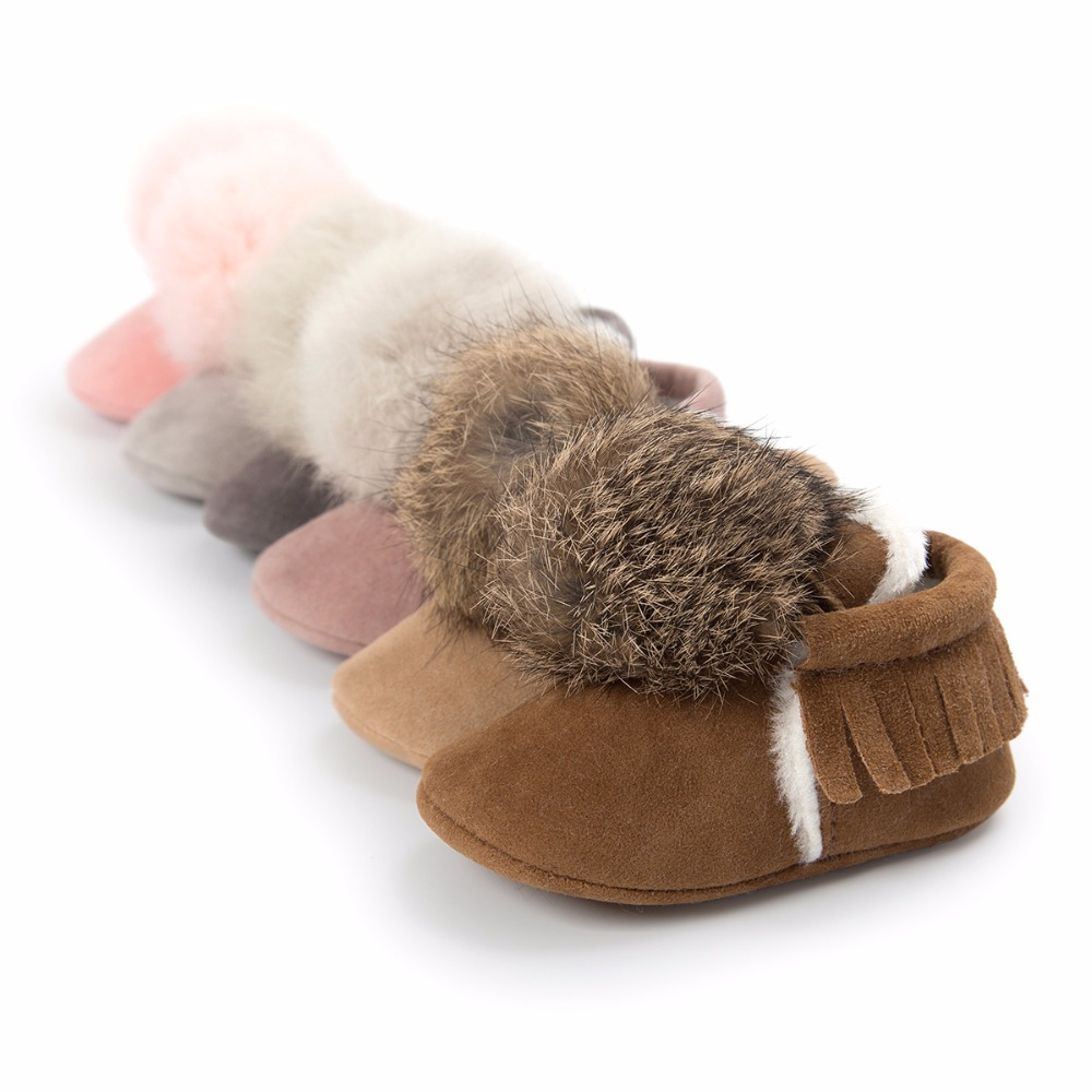 2020 Cute Winter Warm New Baby Fringe Moccasins Fleece Fashion Fur Ball Ornaments Baby Shoes First Walkers Baby Boots