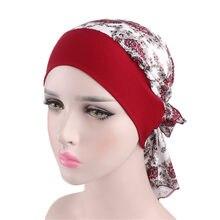 a22073f6c08a6 1 PC Mode Floral Foulard Femmes Musulman turban en stretch Chapeau Pirate  Headwraps Cancer chapeau de chimio de Couchage Capot D..