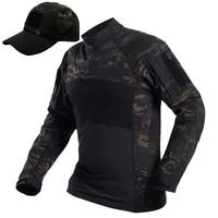 Multicam Black Tactical Long Sleeve T Shirt Men SWAT Soldier Uniform Combat Shirts Fitness Breathable Paintball Army T Shirt+Hat