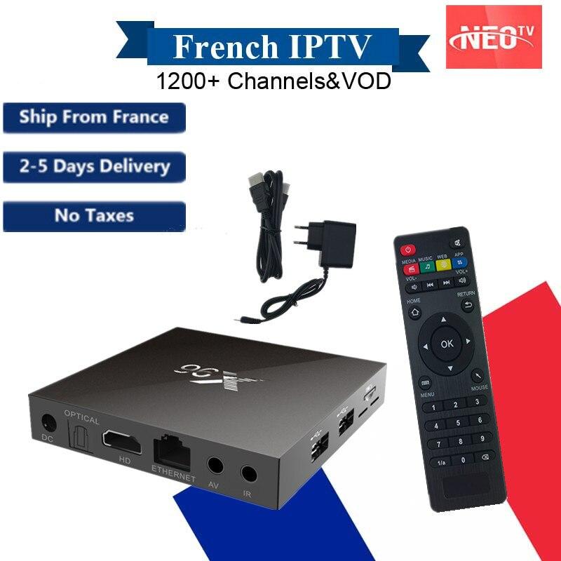 X96 Android 6.0 IPTV Box Amlogic S905X 2GB16GB with NEO IPTV Subscription France Arabic Europe Smart TV Box  Wireless Keyboard