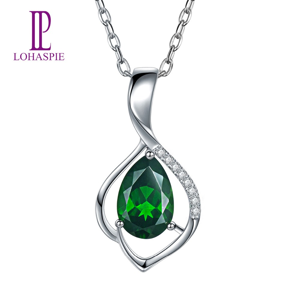 LP Diamond-Jewelry Solid 18K White Gold 1.52 Carat Natural Russia Chrome Diopside Gemstone Pendant For Women Fine Stone Jewelry