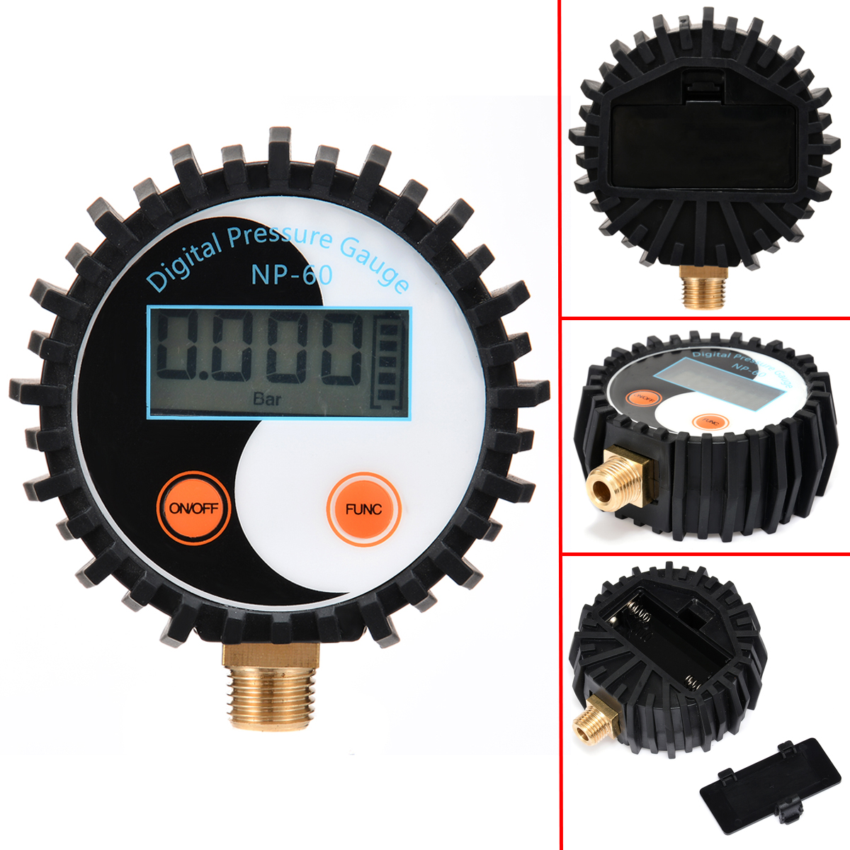 1pc battery power digital air pressure gauge gas pressure gauge tester tool 0 200psi np 60 g1 4 with vibration resistance 1pc New NP-60 G1/4 Digital Pressure Gauge 0-200PSI Battery Power Gas Tester Tool DC 3V