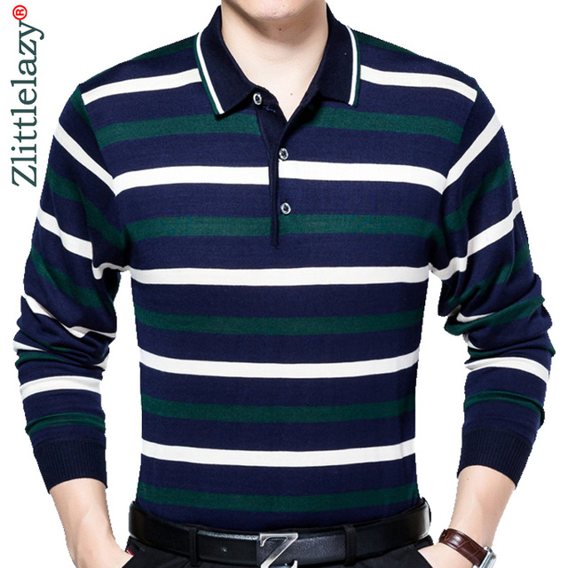 2019 long sleeve striped polo shirt men cotton streetwear ...