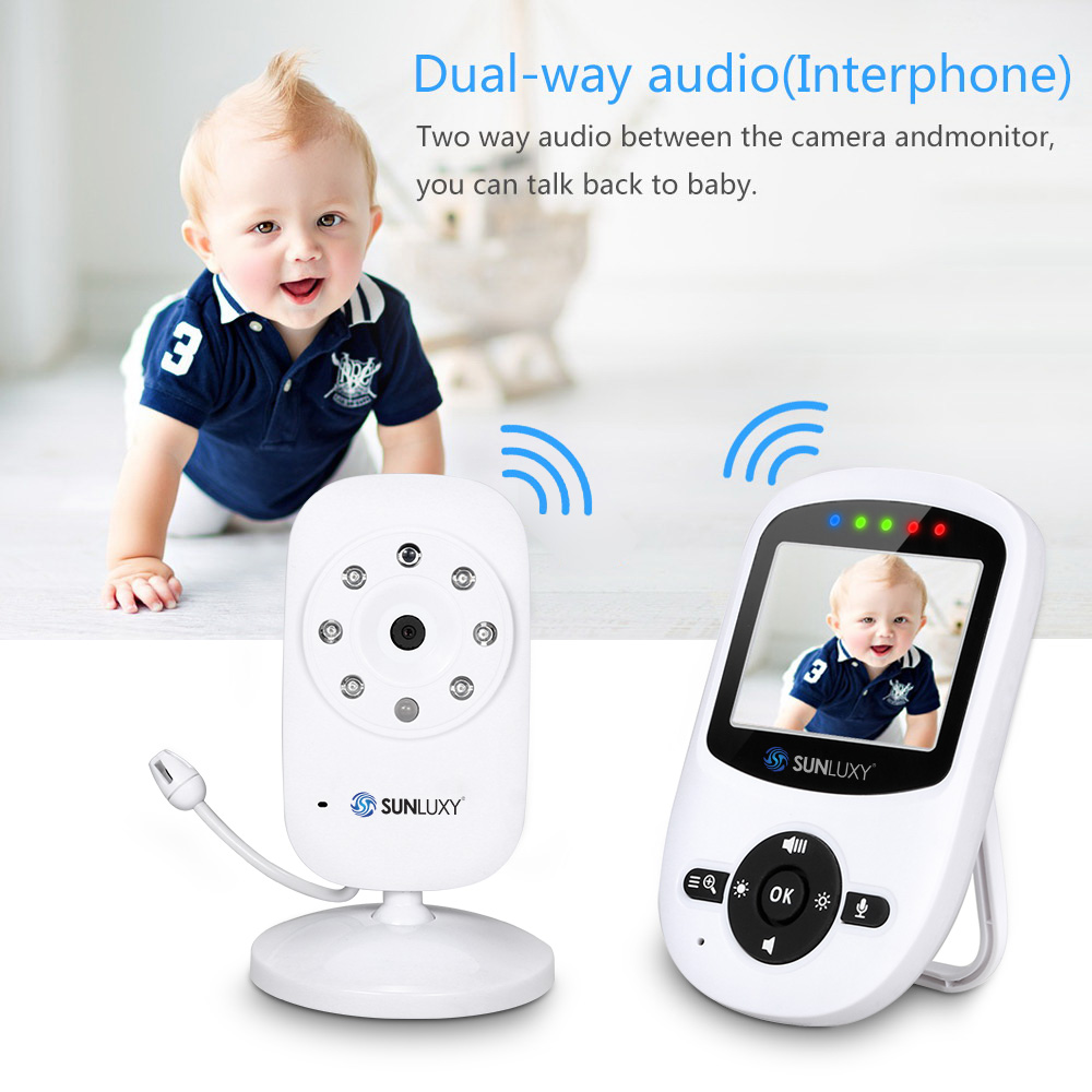 SUNLUXY Baby Monitor 2.4inch WirelessDigital LCD Two Way Talk Night Vision Audio Video Security Camera Music Temperature Monitor 7 inch baby monitor 2x night vision camera set two way