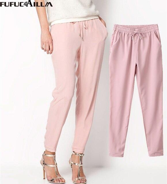 2016 New fashions Women's Pants Long Casual Harem Pants Women Pure Color Elastic Chiffon Trousers AB17