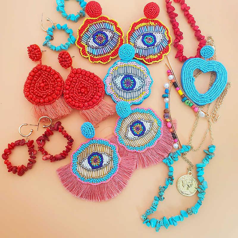 Jujia Za Vintage Bông Tai Giọt Cho Nữ 2019 Thời Trang Tay Hạt Tuyên Bố Bông Tai Trang Sức Dự Tiệc Cao Cấp