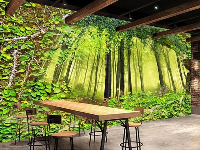 Landschap Natuur Behang Plant baksteen muur woods Bos Wallpaper ...