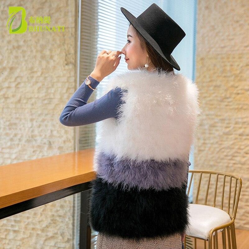 Mode vraie laine d'autruche turquie fourrure femmes gilet manteau plume Patchwork naturel fourrure gilet veste - 6