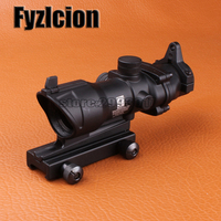 Hunting Riflescope ACOG 4x32 Scope With Iron Sights 20mm Weaver Picatinny Rail Mounts For Tactical Airsoft