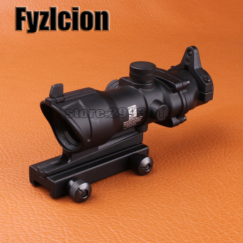 Fyzlcion  Riflescope ACOG 4x32 Scope with Iron Sights 20mm Weaver Picatinny Rail Mounts for Tactical Airsoft 4x magnifier scope fts flip to side for aimpoint or similar scopes sights for airsoft hunting