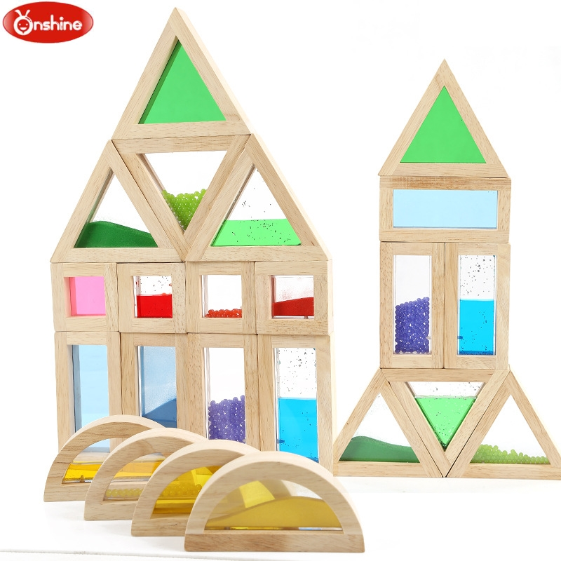 Educational Sensory Blocks Toys Children Acrylic Building Blocks Training Aid Creative Wooden Blocks Training Kids Toys Gift мужские сумки