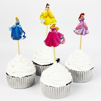 24pcs/set princess Cake Cupcake Topper Cake Toothpick Baking Decorations Kids Happy Birthday party Home Party Supplies image