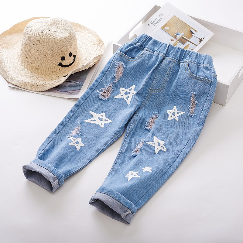 MERI AMMI Children Girls Heram Jeans Star Pants Trousers Sweatpants Pant 2-9 Year Baby KIds,J694