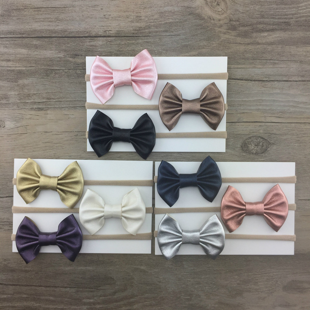 Cute Bebe Girl Leather Bow Nylon Headband With Super Soft Elastic Stretch Head Band Kid Tiny Hair Bows Accessories 2018 New