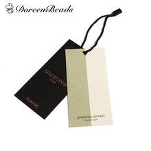 """DoreenBeads, бумажная этикетка, прямоугольная, черная, с рисунком сообщения, DIY, инструмент, подарок, 10 см(3 7/"""") x 4,8 см(1 7/8""""), 10 комплектов"""