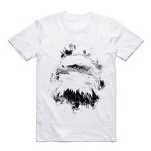 Animal Sketch Acuarela Pattern Cartoon Modal Eagle/cat/leopard/wolf/lion/bear Printed White Short-sleeved Summer T-shirt